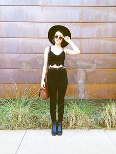 Free People Matador Hat, Free People Lace Crop Top, Zara High Rise Jeans