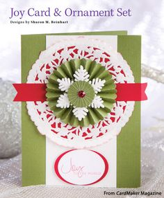 Joy Card & Ornament Set from the Winter 2015 issue of CardMaker Magazine. Order a digital copy here: https://www.anniescatalog.com/detail.html?prod_id=127955