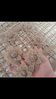 Flower Crafting Burlap, hemp, jute - all great materials for flower making Diy Embroidery Flowers, Ribbon Embroidery, Couture Embroidery, Embroidery Stitches, Embroidery Patterns, Twine Flowers, Diy Flowers, Burlap Flowers, Fabric Flowers