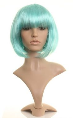 Amazing turquoise blue straight short bob wig from Wonderland Wigs by Wonderland Wigs. $37.99. Amazing turquoise blue straight short bob wig. Discreet packaging. 100% Kanekalon synthetic fibre - high quality natural look. Same day despatch. Length: 25cm/10inches. NOTE: A genuine version of this item is ONLY available to buy from Wonderland Wigs. Other sellers are selling copies of this item and not a genuine 'Wonderland Wigs' branded item. You are likely to be very disapp...