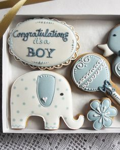 Congratulations Its a Boy! Cookie Gift, Can be personalised - baby shower gift - newborn baby gift Fancy Cookies, Iced Cookies, Cute Cookies, Cookies Et Biscuits, Cupcake Cookies, Cupcakes, Sugar Cookies, Cookies Decorados, Galletas Cookies