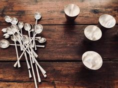 Solid silver spoons each end with a different stone... one for tea one for soup and one for a cocktail... #silver #handmade #spoons #stones #christmas #present #gift #christening