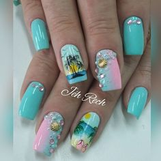 Want some ideas for wedding nail polish designs? This article is a collection of our favorite nail polish designs for your special day. Beach Nail Art, Beach Nail Designs, Cute Acrylic Nails, Cute Nails, Pretty Nails, Nail Polish Designs, Nail Art Designs, Sea Nails, Wedding Nail Polish