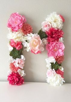 Handmade Home Decor Floral Nursery, Nursery Decor, Girl Nursery, Nursery Letters, Nursery Monogram, Flower Letters, Letter A Crafts, Flower Wall Decor, Handmade Home Decor