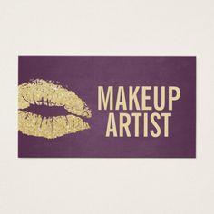 Makeup Artist Modern Gold & Purple Business Card