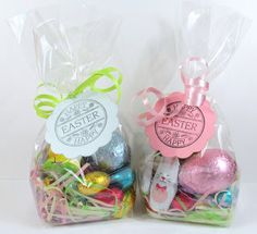 Easter goodie bags for students pencils book mark and eraser easter goodie bags with stamped tag negle Image collections