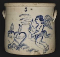 Three Gallon Crock, c. 1870  W. A. MacQuoid & Co. Pottery Works (1863–1879)  Little West 12th Street, New York City