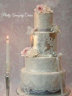 Metallic silver leaf wedding cakes Bristol, designed by Pretty Amazing Cakes for West Weddings Magazine winter 2014 issue