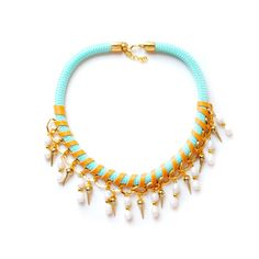 REBAJAS  Collar corto de cuerda con perlas y pinchos  por dosy12. Collar de verano. Summer necklace 2015. ON SALE
