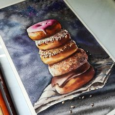 A stack of Donuts - Doughnuts. Cakes Pastries and Drinks Food Art Drawings. By stepashkina.