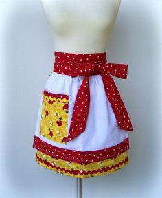 Womens Half Retro Apron - Apple Towel Apron -Handmade Flirty Kitchen Apron in Red and Yellow