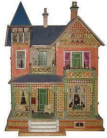 Antique German Gottschalk Blue Roof doll house Doll Houses and Miniatures, Doll Houses - Doll Shops United Victorian Dollhouse, Diy Dollhouse, Dollhouse Furniture, Dollhouse Miniatures, Dolls House Shop, Doll Shop, Doll Houses, Old Dolls, Antique Dolls