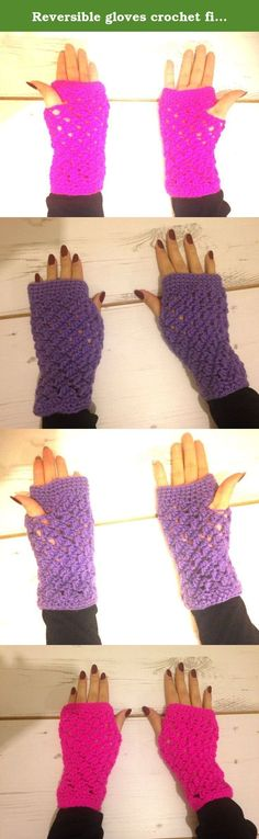 Reversible gloves crochet fingerless mittens in sparkly Pink. Handmade crochet reversible fingerless gloves / Mittens. This item makes a great gift for someone special or simply just as a treat for yourself! These fingerless gloves are a great way to keep your hands warm and fingers free to do activities such as using a touch screen device. These gloves will also keep your wrists warm. Reverse item for a ribbed effect pattern. Colours available: Sparkly pink (made from 97% acrylic and 3%...