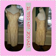 VTG Van Raalte slip or sexy dress M Don't be deceived by the 38 this will not fit a 38 bust as you can see by the measure in the third picture. This is a medium sized slip that is stunning beyond words. It is a deep cream or tan colored lace overlay with a baseline and and a zipper on the side. It is approximately 15 inches under the arms. As shown. I bought it for myself on a vintage site that doesn't allow returns and it is too small for me. Vintage Intimates & Sleepwear Chemises & Slips