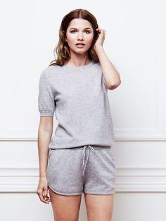 Women's Short Sleeve O-neck in Light Grey / Soft Goat AW16