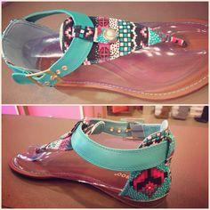 Aztec print sandals ❤❤❤ Pink Bombshell Renaissance at Colony Park 601.853.0775 #shoprenaissance