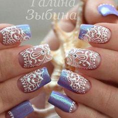 66 Elegant Lace Nail Art Designs 2019 - Our Nail Fabulous Nails, Gorgeous Nails, Pretty Nails, Lace Nail Art, Lace Nails, Lace Nail Design, Nails Design, Nail Art Arabesque, Nails 2016