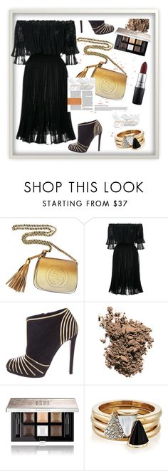 """""""Night elegant outfit"""" by rousou ❤ liked on Polyvore featuring Gucci, Alexander McQueen, Sergio Rossi, Dolce&Gabbana, Givenchy, Brixton and MAC Cosmetics"""