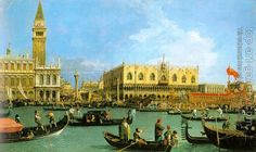 The Bucinto at the Molo on Ascension Day - Canaletto, Giovanni (Italian, 1697 - Fine Art Reproductions, Oil Painting Reproductions - Art for Sale at Galerie Dada Italian Painters, Italian Artist, Grand Canal, The Queen's Gallery, Ascension Day, Venice Painting, European Paintings, Oil Painting Reproductions, Classical Art