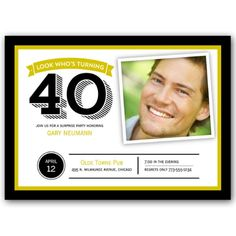 Big Banner Gold 40th Birthday Photo Invitations | PaperStyle