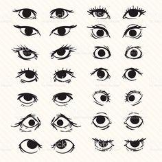 Describe conjunto de dibujos animados de los ojos illustracion libre de derechos libre de derechos #Drawingtips