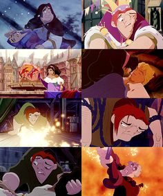 The Hunchback of Notre Dame; I think these are great screenshots because it really depicts the myriad of emotions that are experienced in the film-- Confusion, Humiliation, Compassion, Love, Shock, Hopelessness, Despair, Fear. Not sure if that's what others see when looking at their faces, but that's what I see.