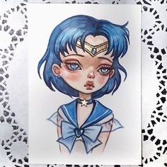Sailor Mercury Available in my Etsy Link in profile SOLD. Thank you! #art #sailormoon #sailormercury #postcard #watercolorart #illustration #etsy