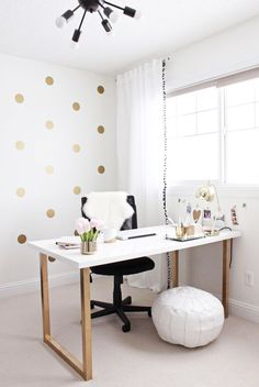 Gold and Girly Home Office Desk. Sometimes we need to bring work home. A home office is very essential in home decor. But we doesn't need to spend much on it. Here is a perfect DIY home office desk for girls. Mesa Home Office, Home Office Desks, Office Furniture, Office Decor, Office Ideas, Desk Ideas, Ikea Furniture, Office Inspo, Office Spaces