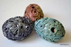 polymer clay scrap + PearlEx pigments | Filigree covered eggs by Monika Brydova