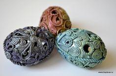 polymer clay scrap + PearlEx pigments | Filigree covered eggs by Monika Brydova