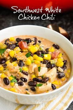 Southwest Creamy White Chicken Chili (stovetop & slow cooker method) is a cozy satisfying healthy meal of pure comfort. #soup #chili #chickenchili #whitechili #recipe #comfortfood #easy #Southwest #TexMex #healthychicken