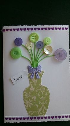 Handmade Mother's Day card with vase of button flowers £3.00