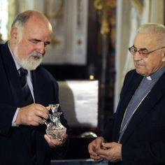 Miloslav Vlk - Archbishop Emeritus of Prague (right) with Ing. Rückl (left)