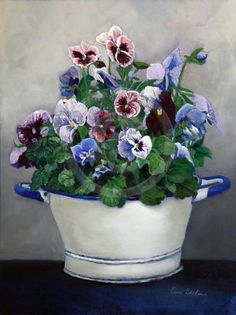 Pansies Still Life Painting  Flowers in by EnzieShahmiriDesigns
