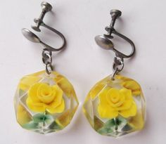 reverse carved lucite earrings - I have these in red (Ca 1950). They belonged to my mother.