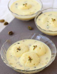 Bengali Rasmalai - Indian Sweet / Milk based Dessert - Soft Spongy Balls in Creamy Rabri - Step by Step Recipe Indian Dessert Recipes, Indian Sweets, Sweets Recipes, Cooking Recipes, Indian Recipes, Diwali Recipes, Brownie Desserts, Sweet Desserts, Coconut Dessert