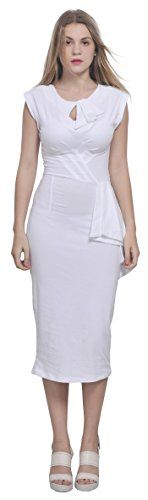 """Marycrafts Womens Vintage Wiggle Pencil 50's Bodycon Midi Dress 10 White. Materials: highly stretchy single jersey 92% cotton 8% elastane. Length (from shoulder): 43"""" - 49"""" (109 cm - 124 cm). Sim fit, cap sleeves, illusion tie neckline, mini diagonal pleats and tie decoration at waistband, knee lengthh. Machine washable. This product is produced by Marycrafts and sold solely by us. Please buy from Marycrafts only to ensure best quality. The model is 1m70 wearing size 4."""