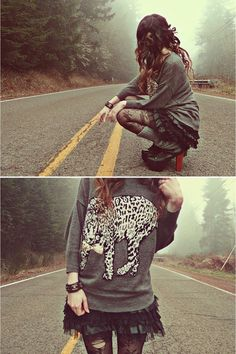 """Heather Gray Mexy Shop Sweaters, Black Jeffrey Campbell Boots 