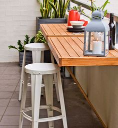 A foldaway table is the ideal solution for a small-space balcony. Put it up for drinks and nibblies, and down when guests are mingling. Click through for step-by-step instructions.