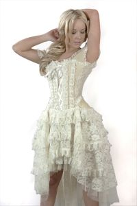 Burleska - Ophelie Dress cream - Gothic Kleid mit Korsett-Top