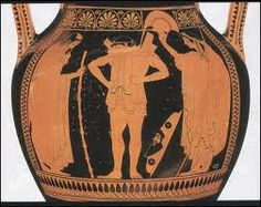 Euthymides, innovador en cuanto a escorzo y perspectiva: Hector colocándose su armadura delante de sus padres Príamo y Hecuba. Munich