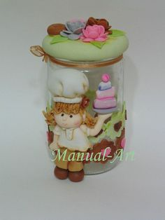 Frascos decorados Pasta Flexible, Polymer Clay Crafts, Biscuits, Jar, Home Decor, Decorated Jars, How To Make Crafts, Bottles, Cute Things