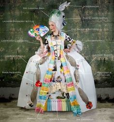 More recycled costume inspiration with this recycled version a Victorian gown made of cardboard, plastic bags, empty bottles, old batteries and magazines. This costume from the Mother Nature Network is made entirely out of recycled materials.