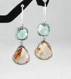 Peach and Mint Earrings in Sterling Silver  by LadyKJewelry, $26.50