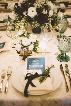 Elegant White and Green Wedding Table Setting