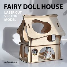 Wooden fairy doll house. Vector plan for laser cutter, cnc, lasercut, laser…