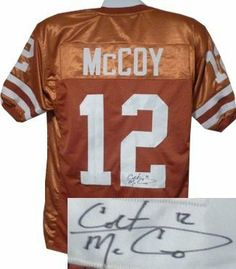Colt McCoy Autographed/Hand Signed Texas Longhorns Orange Custom Jersey by Hall of Fame Memorabilia. $199.95. In 2008 McCoy set school records for most career touchdown passes most touchdown passes in a season most total touchdowns by a Texas player most career wins and most career passing yards. In addition to setting passing records McCoy led the team with 561 yards rushing and 11 rushing touchdowns establishing a reputation as a dual threat quarterback. McCoy was...