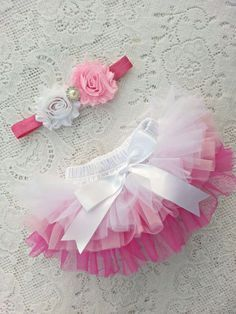 All around Ombre Chiffon ruffle Baby bloomer and headband, diaper cover Newborn, infant, toddler tutu 0-18 months #babydiapercover