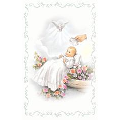 A sweet image of a baby being baptized. Perfect for a birth announcement or baptism! Cards are micro-perforated.