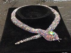 Butler Wilson style Multi  Coloured Silver  Crystal  Snake Statement necklace
